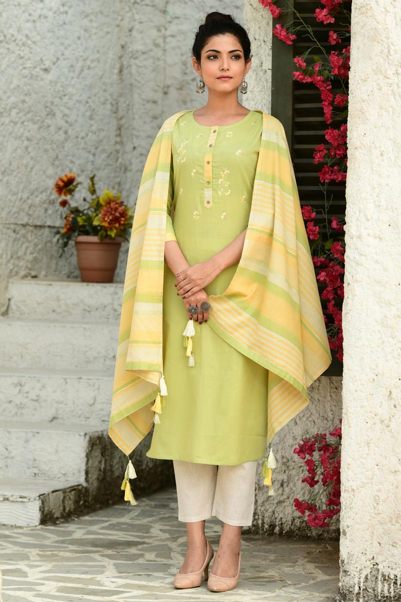 Exclusive Cotton Fabric Casual Wear Sea Green Color Readymade Salwar Suit