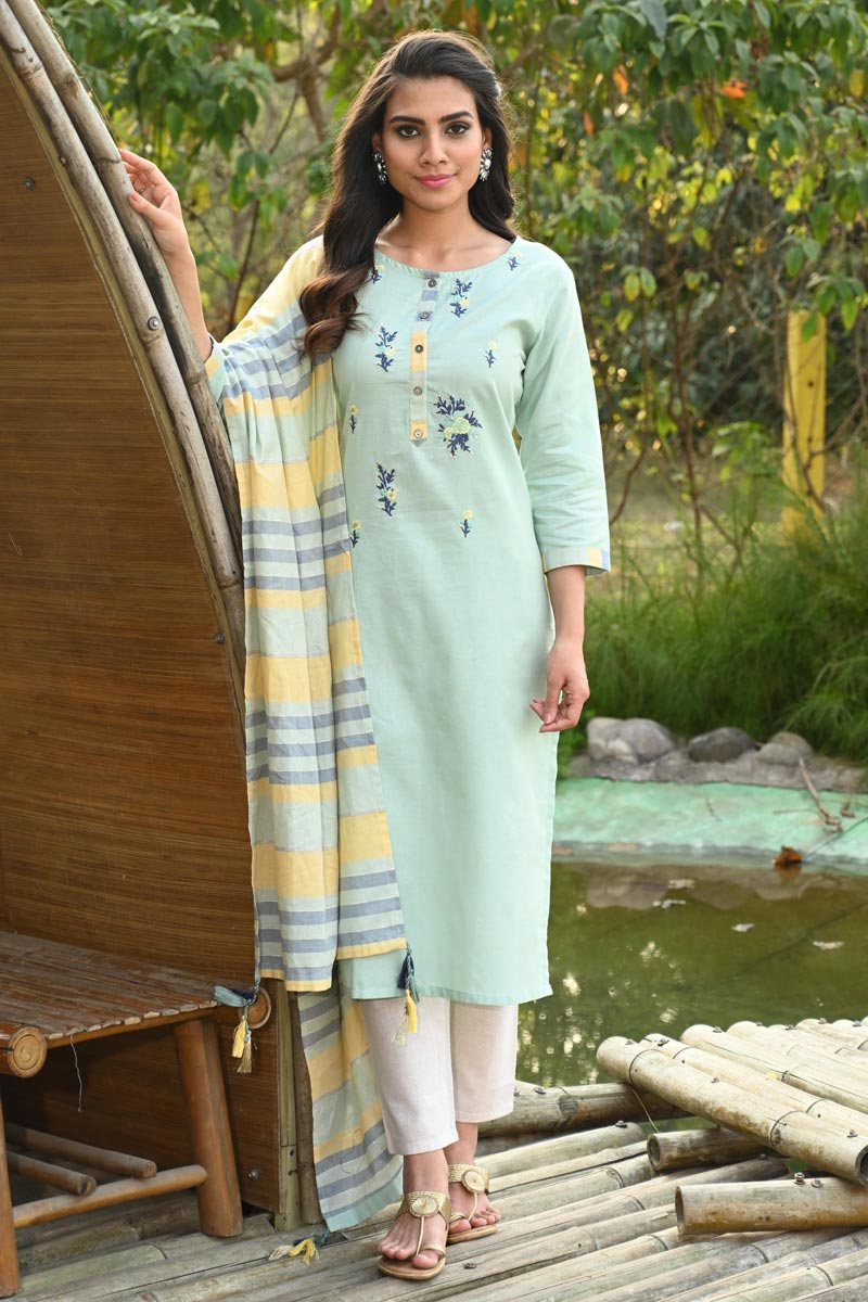 Exclusive Casual Wear Light Cyan Color Cotton Fabric Readymade Salwar Suit