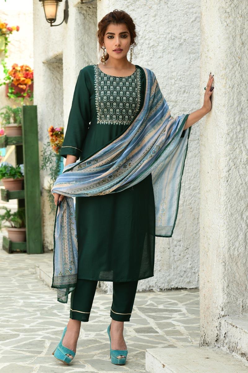 Exclusive Casual Wear Dark Green Color Fancy Fabric Readymade Salwar Suit