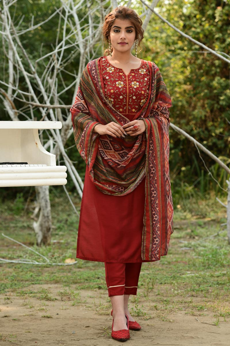 Exclusive Red Color Casual Wear Fancy Fabric Readymade Salwar Suit