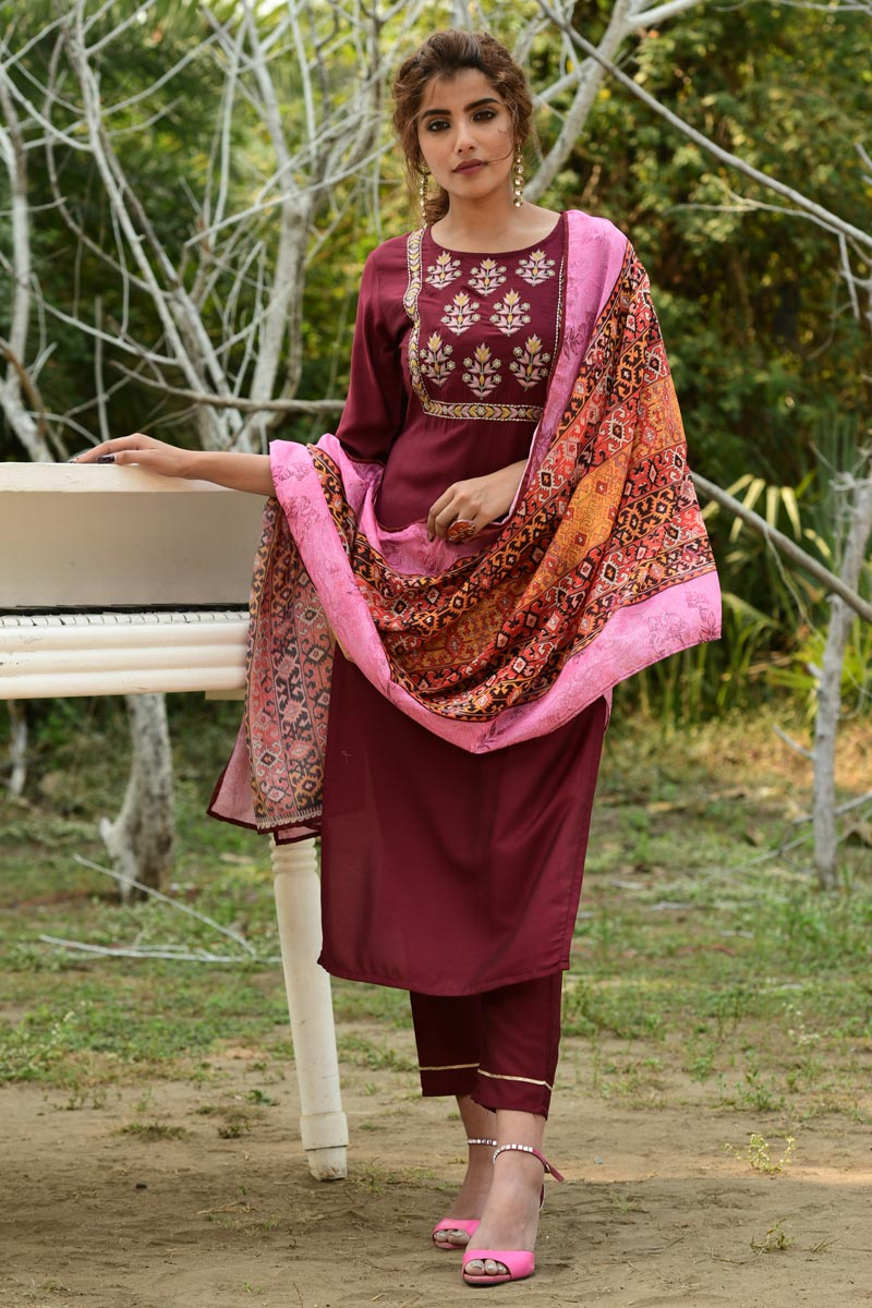 Exclusive Casual Wear Fancy Fabric Readymade Salwar Suit In Maroon Color
