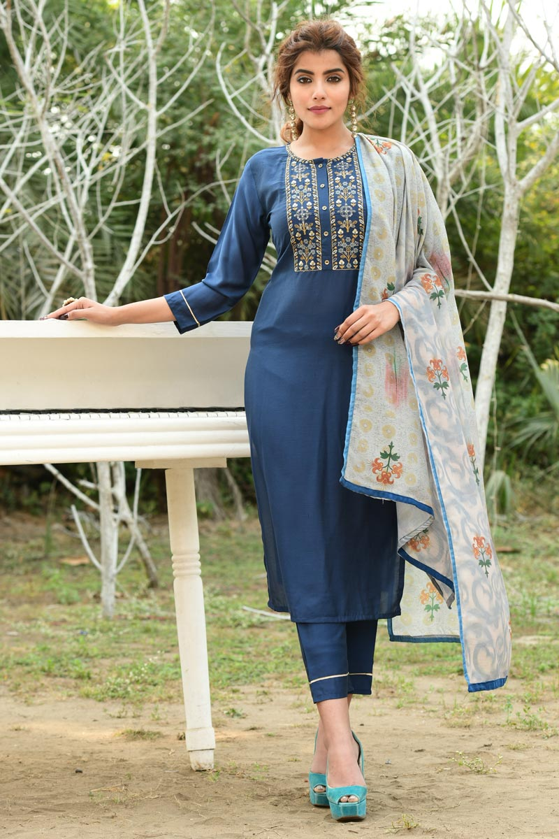 Exclusive Fancy Fabric Casual Wear Navy Blue Color Readymade Salwar Suit