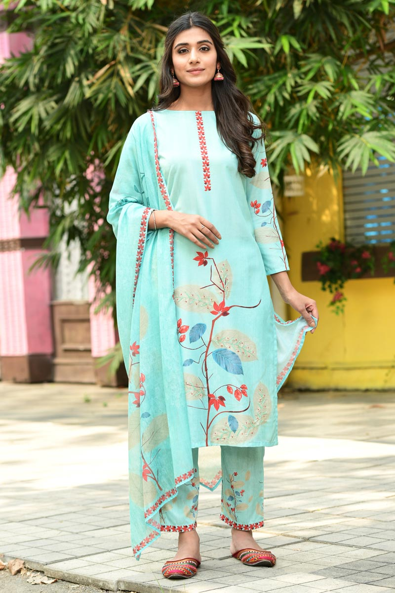 Exclusive Casual Wear Sea Green Color Fancy Fabric Readymade Salwar Suit
