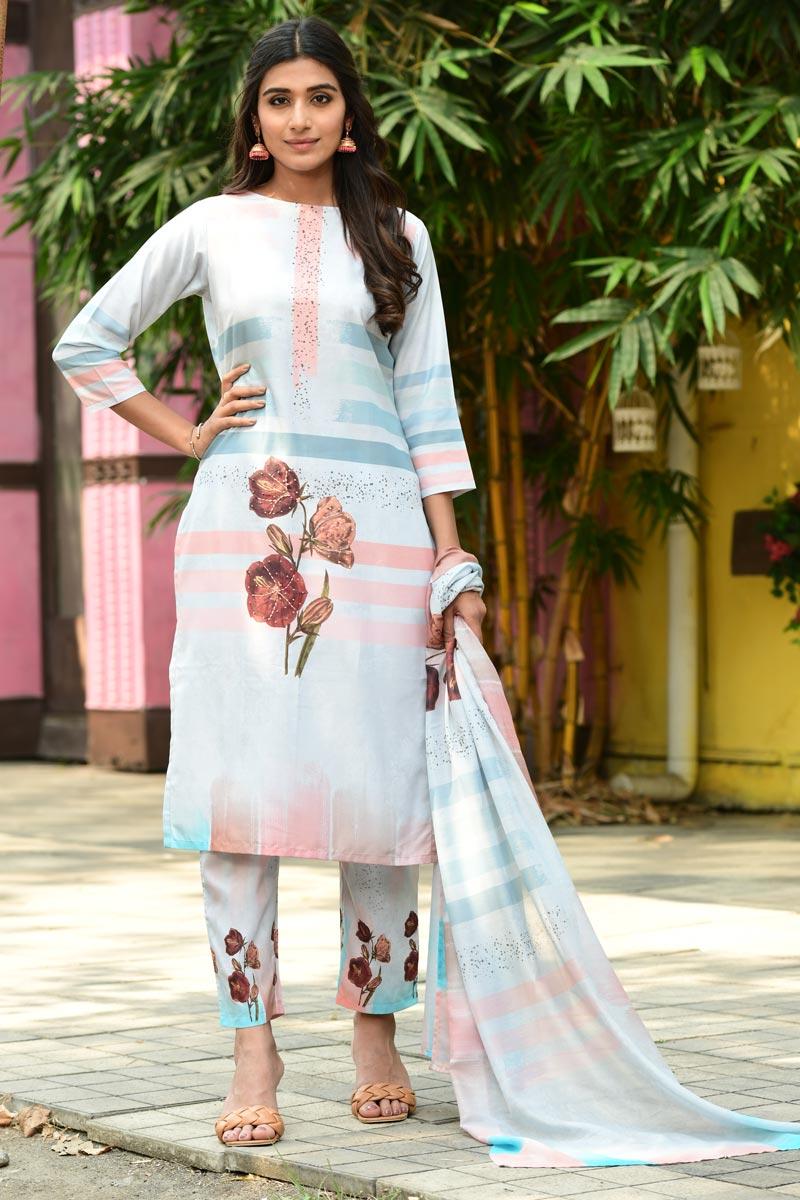 Exclusive Light Cyan Color Casual Wear Fancy Fabric Readymade Salwar Suit
