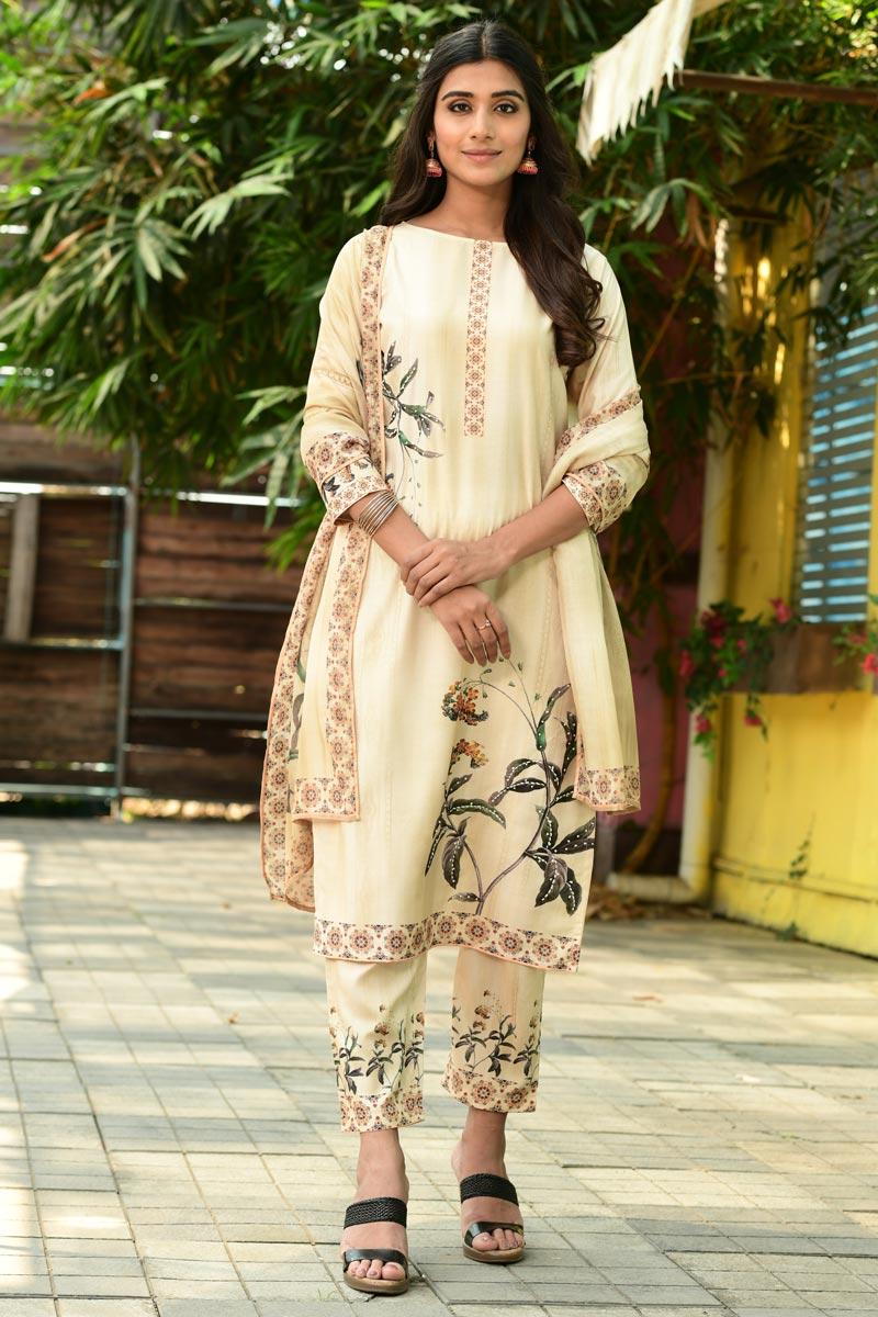 Exclusive Casual Wear Beige Color Fancy Fabric Readymade Salwar Suit