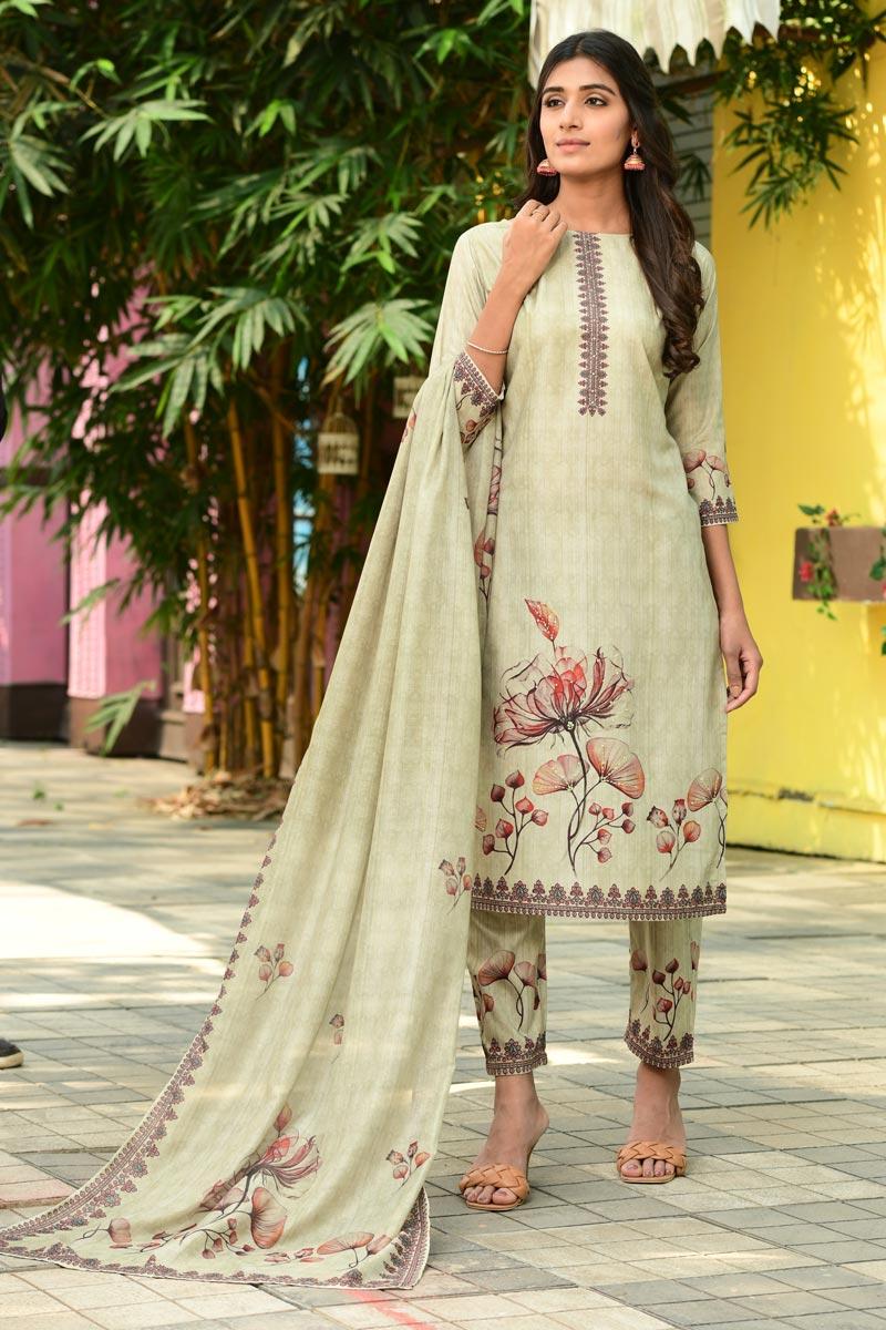Exclusive Cream Color Casual Wear Fancy Fabric Readymade Salwar Suit