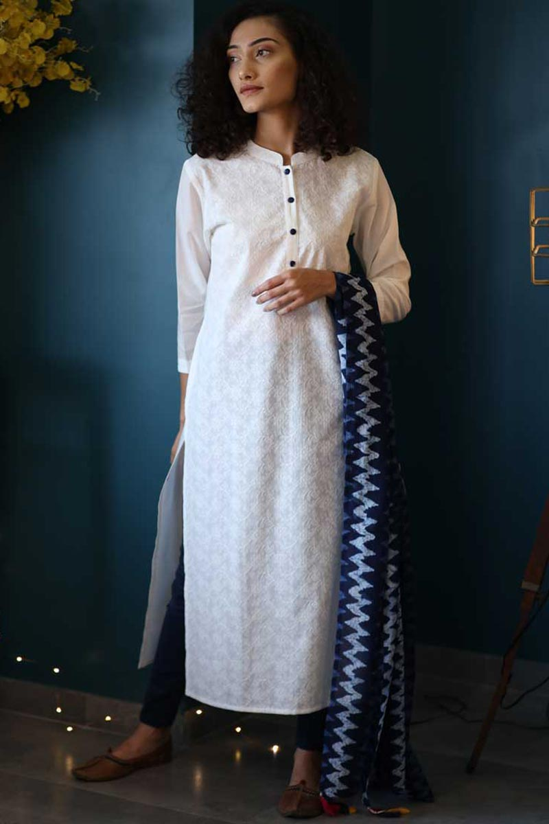 Exclusive Casual Wear White Color Cotton Fabric Kurti With Dupatta