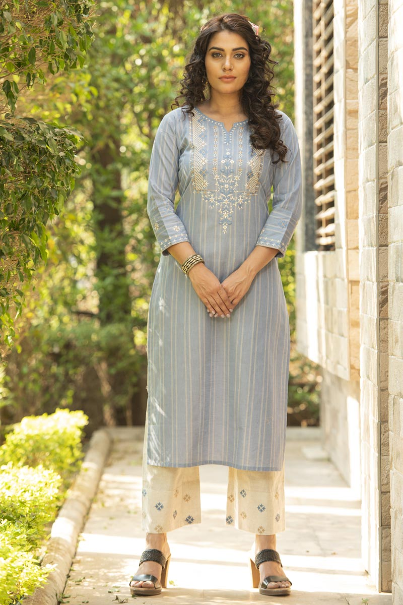 Exclusive Cotton Fabric Casual Wear Light Cyan Color Kurti With Bottom