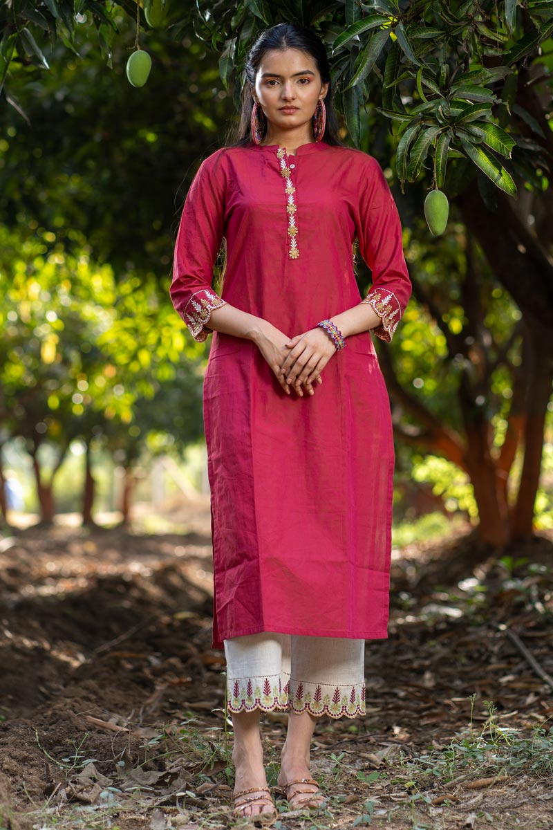 Exclusive Casual Wear Rani Color Cotton Fabric Kurti With Bottom