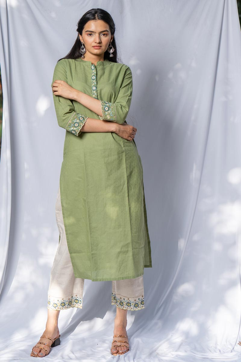 Exclusive Sea Green Color Casual Wear Cotton Fabric Kurti With Bottom
