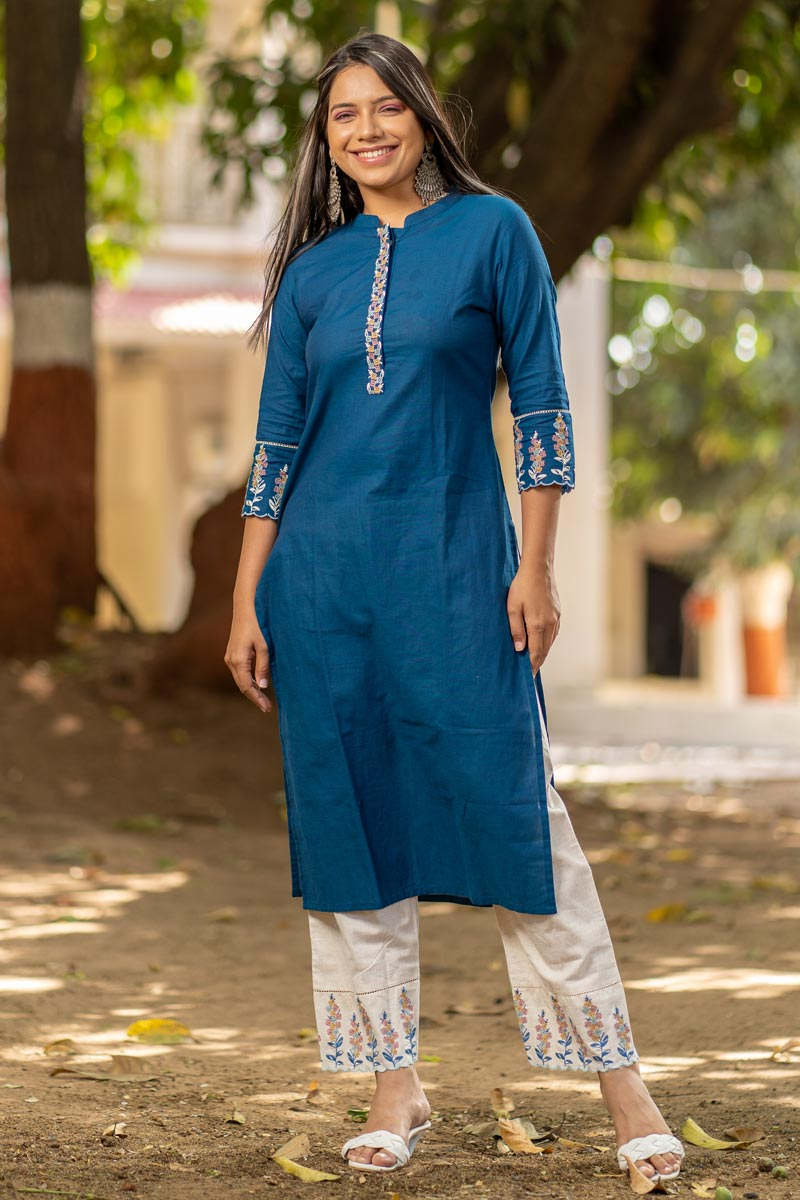 Exclusive Casual Wear Cotton Fabric Kurti With Bottom In Teal Color