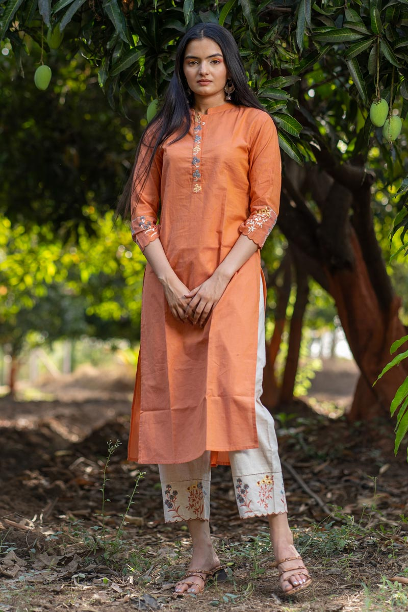 Exclusive Cotton Fabric Casual Wear Orange Color Kurti With Bottom