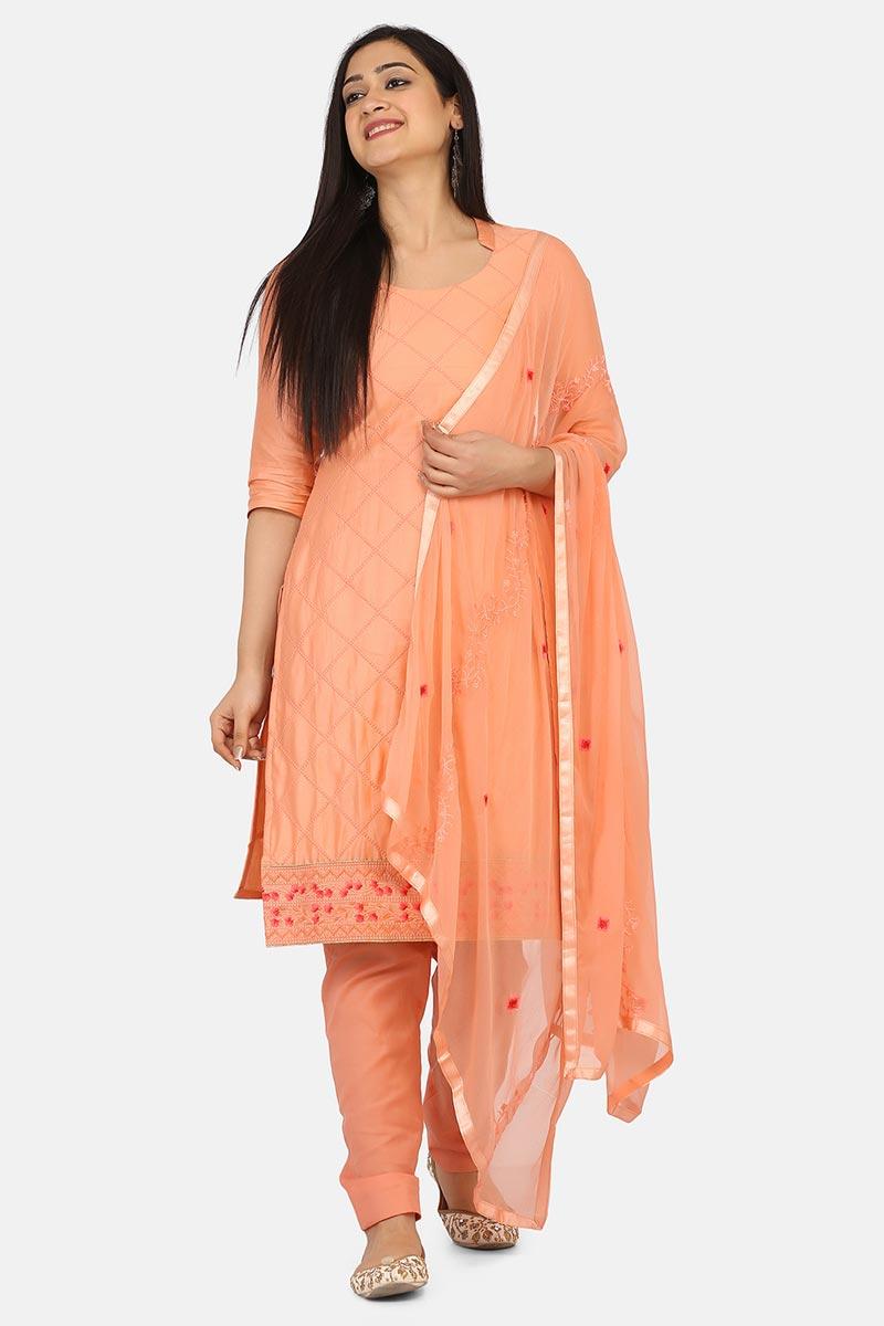 Peach Color Casual Wear Cotton Fabric Salwar Kameez