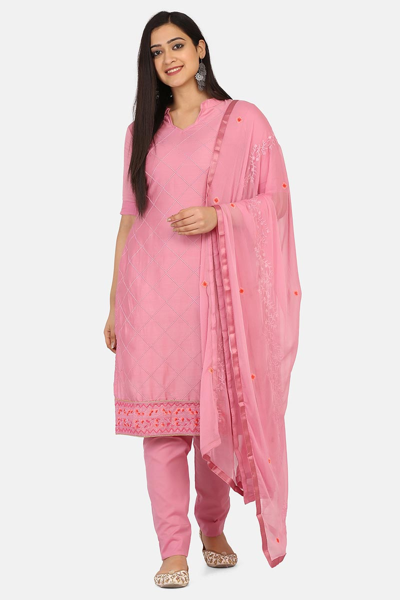 Pink Color Daily Wear Cotton Fabric Salwar Suit
