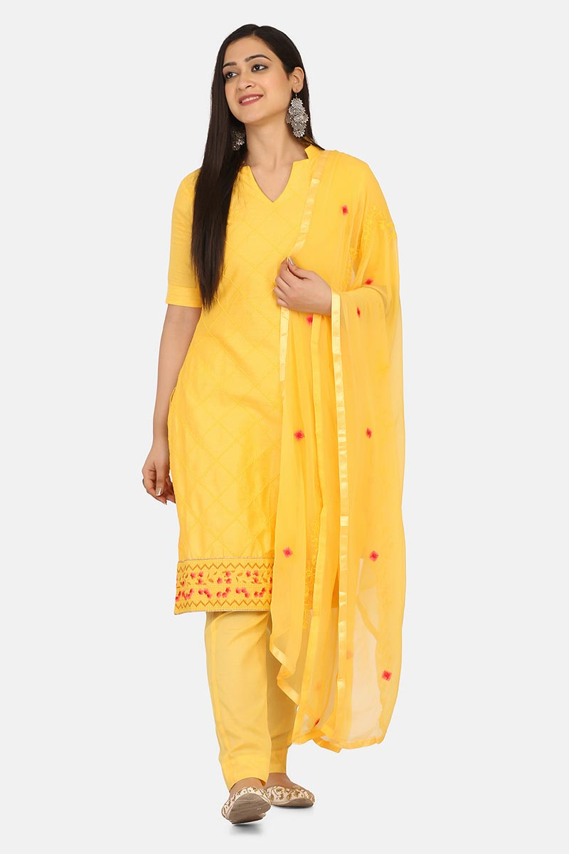 Cotton Fabric Casual Wear Yellow Color Salwar Kameez