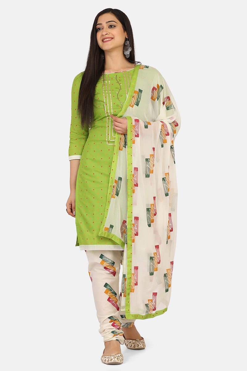 Green Color Cotton Fabric Daily Wear Salwar Suit