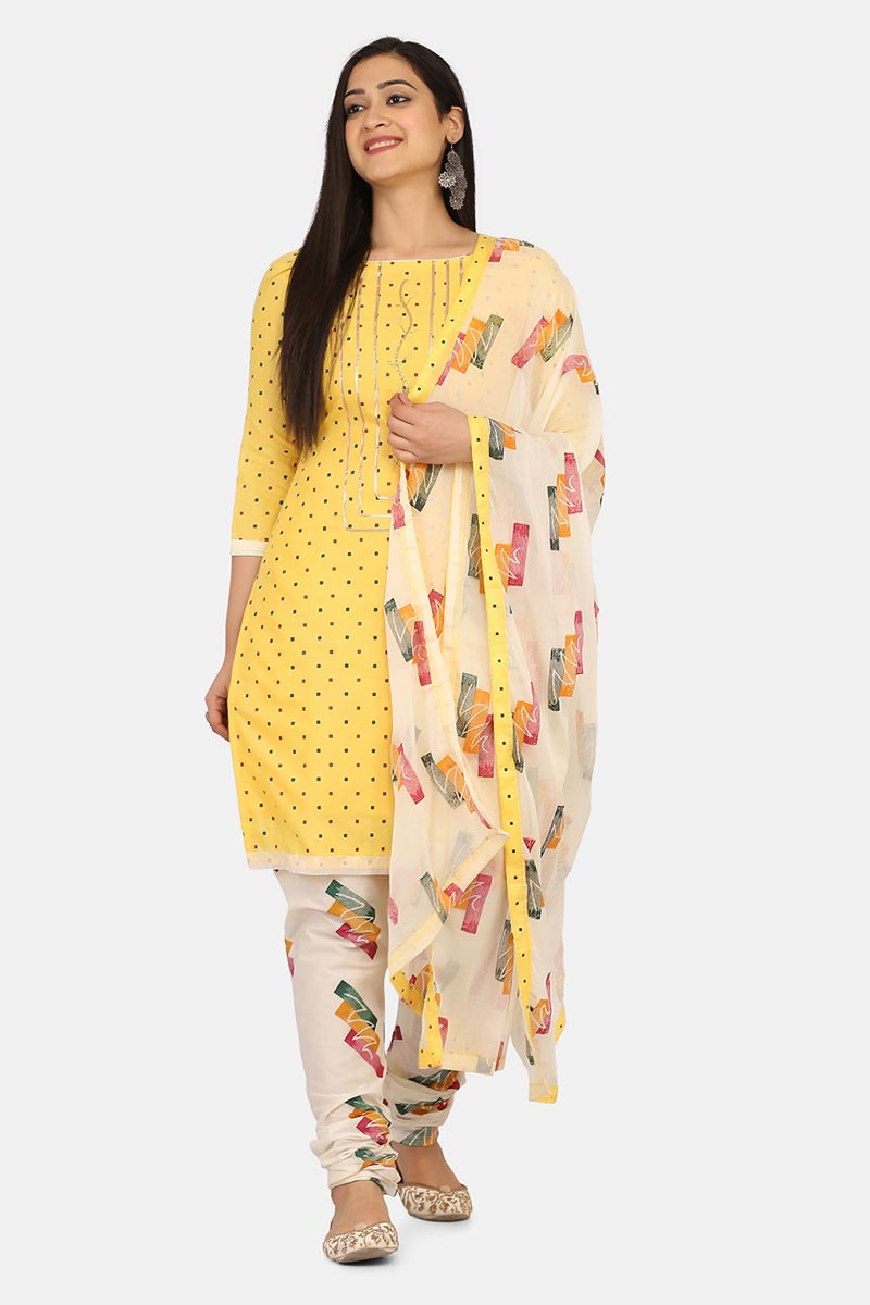 Yellow Color Cotton Fabric Casual Wear Simple Salwar Kameez