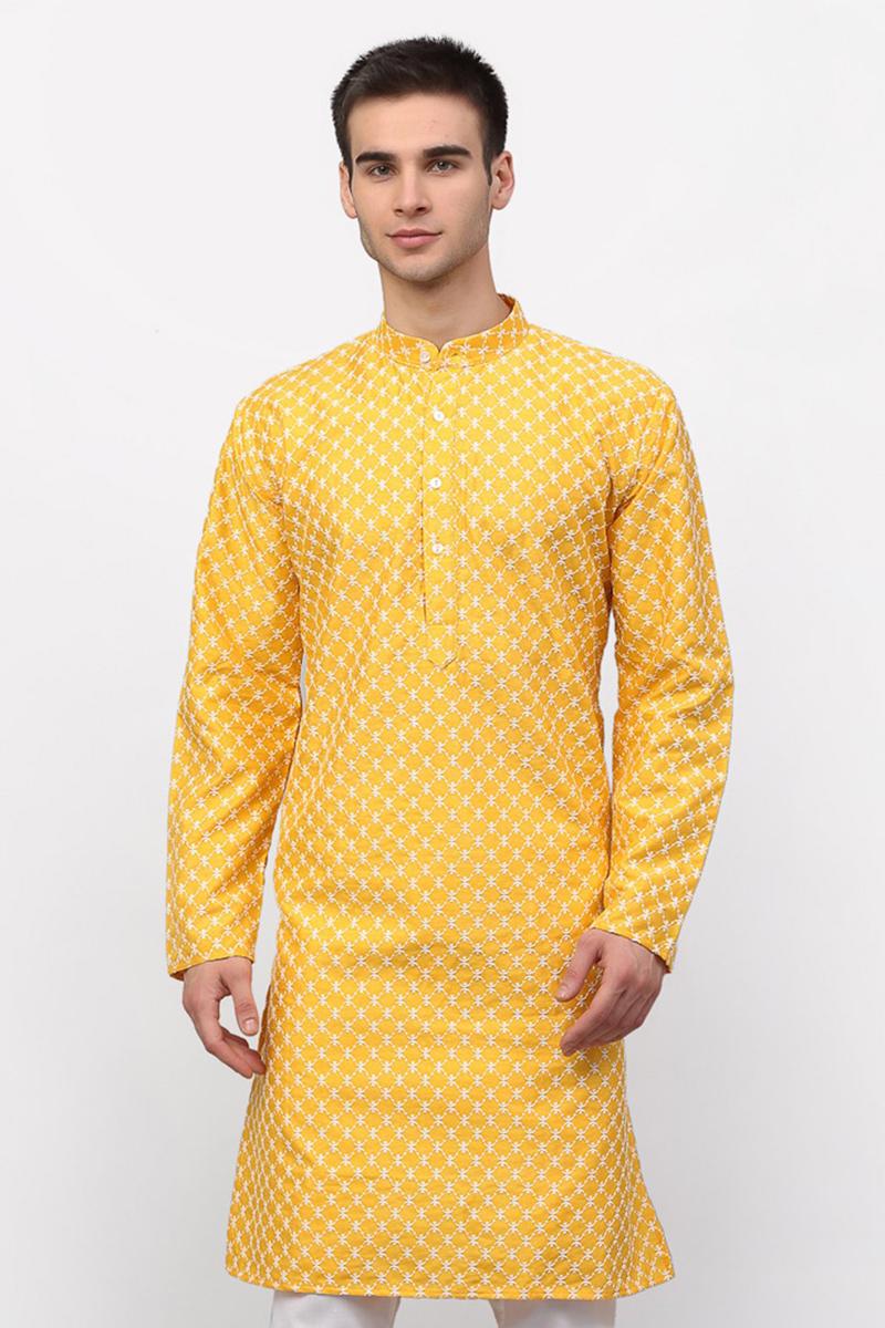 Yellow Color Silk Fabric Function Wear Readymade Men Kurta