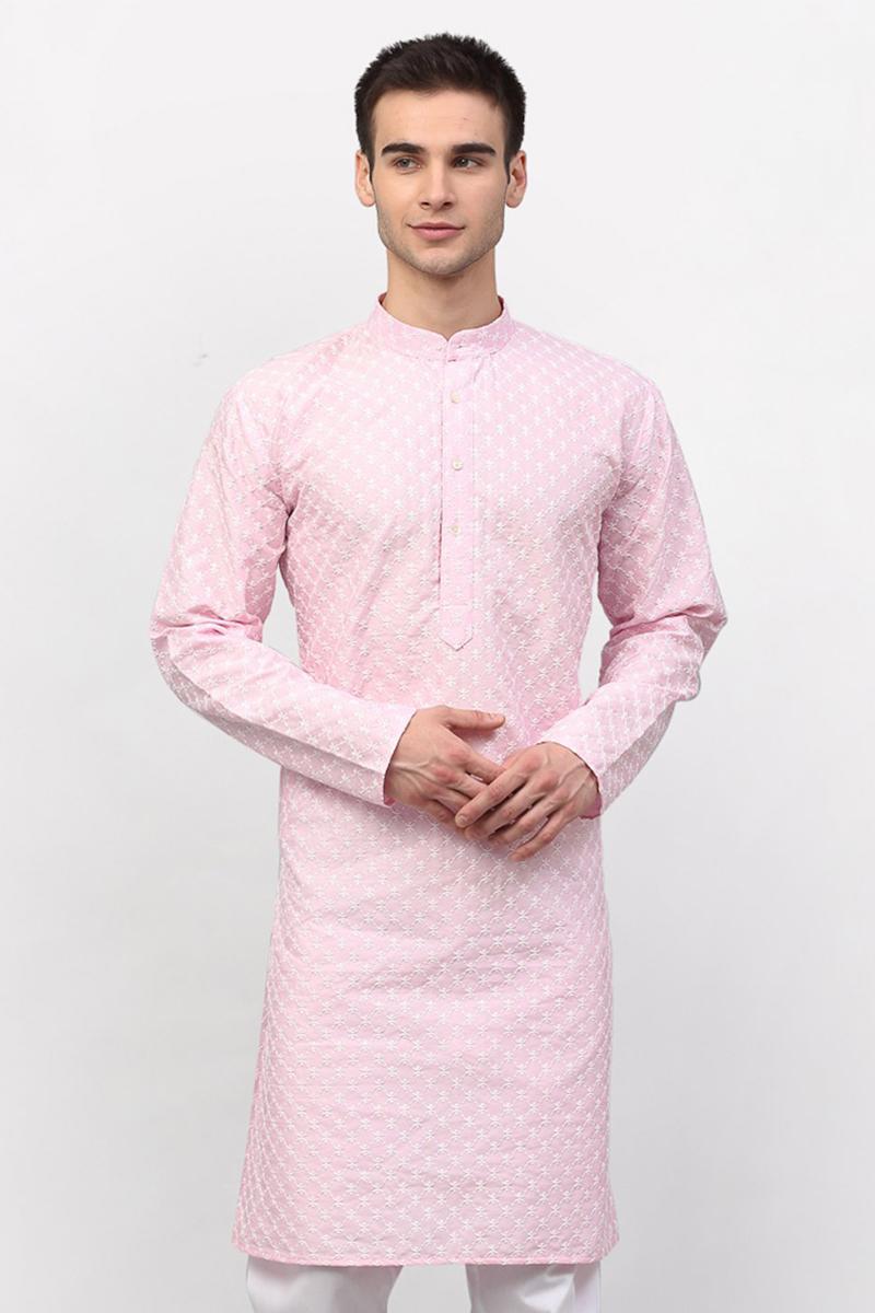 Pink Color Silk Fabric Festive Wear Readymade Kurta For Men