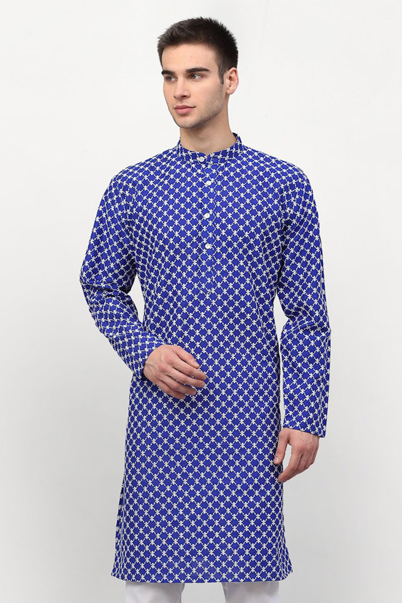 Blue Color Silk Fabric Sangeet Wear Readymade Men Kurta