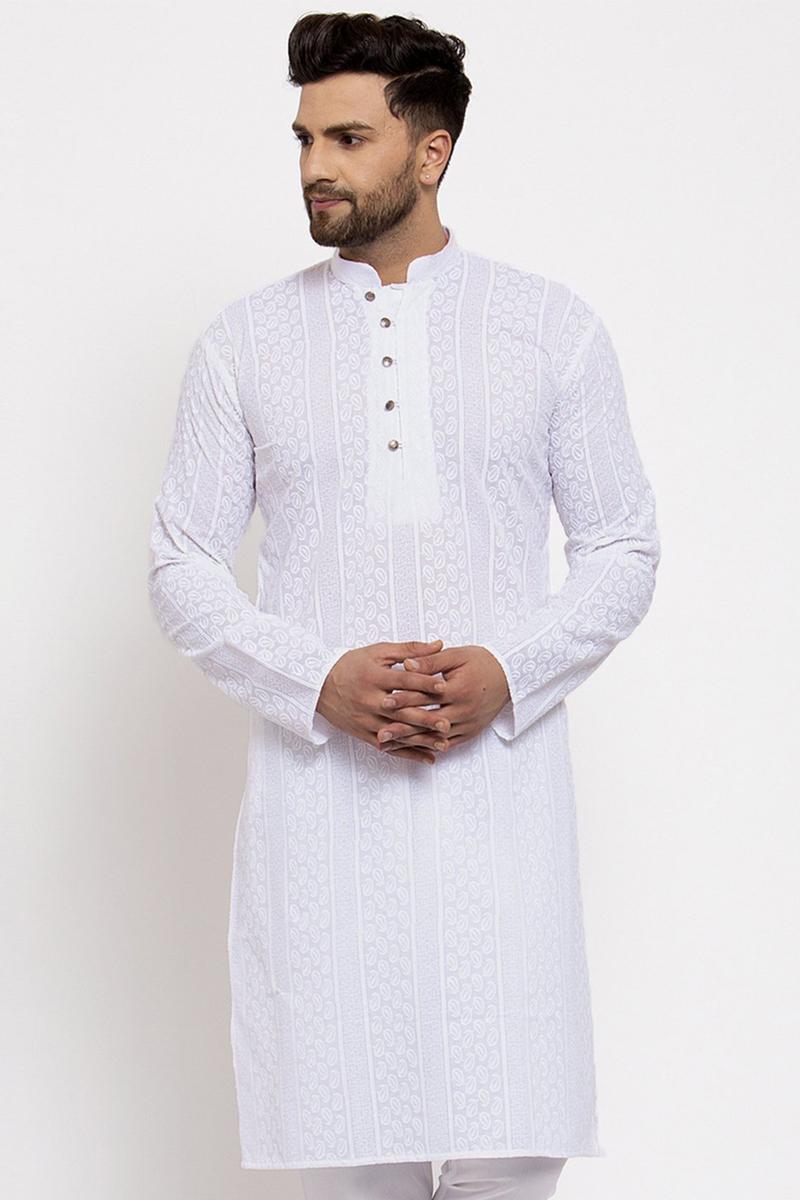 White Color Cotton Fabric Festive Wear Embroidered Readymade Men Kurta