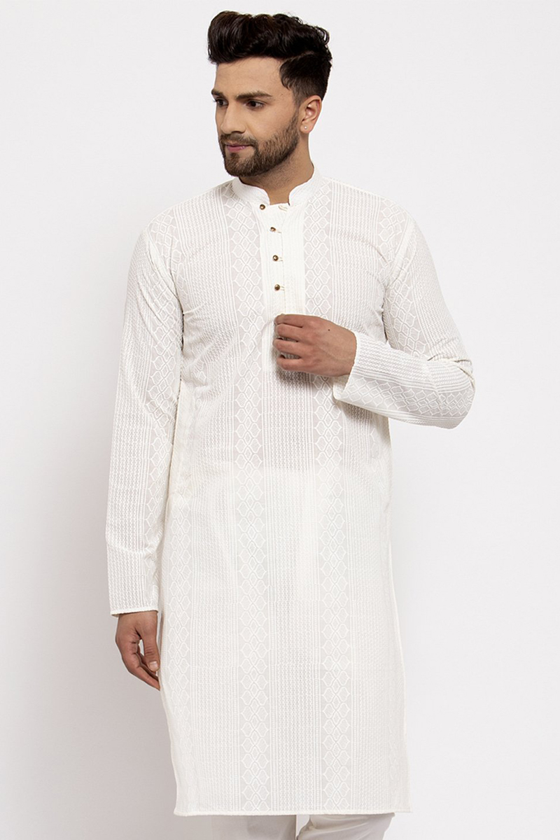 White Color Cotton Fabric Function Wear Embroidered Readymade Men Kurta
