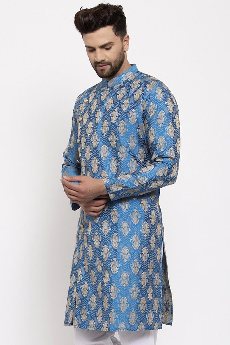 Sky Blue Color Jacquard Fabric Festive Wear Readymade Kurta For Men