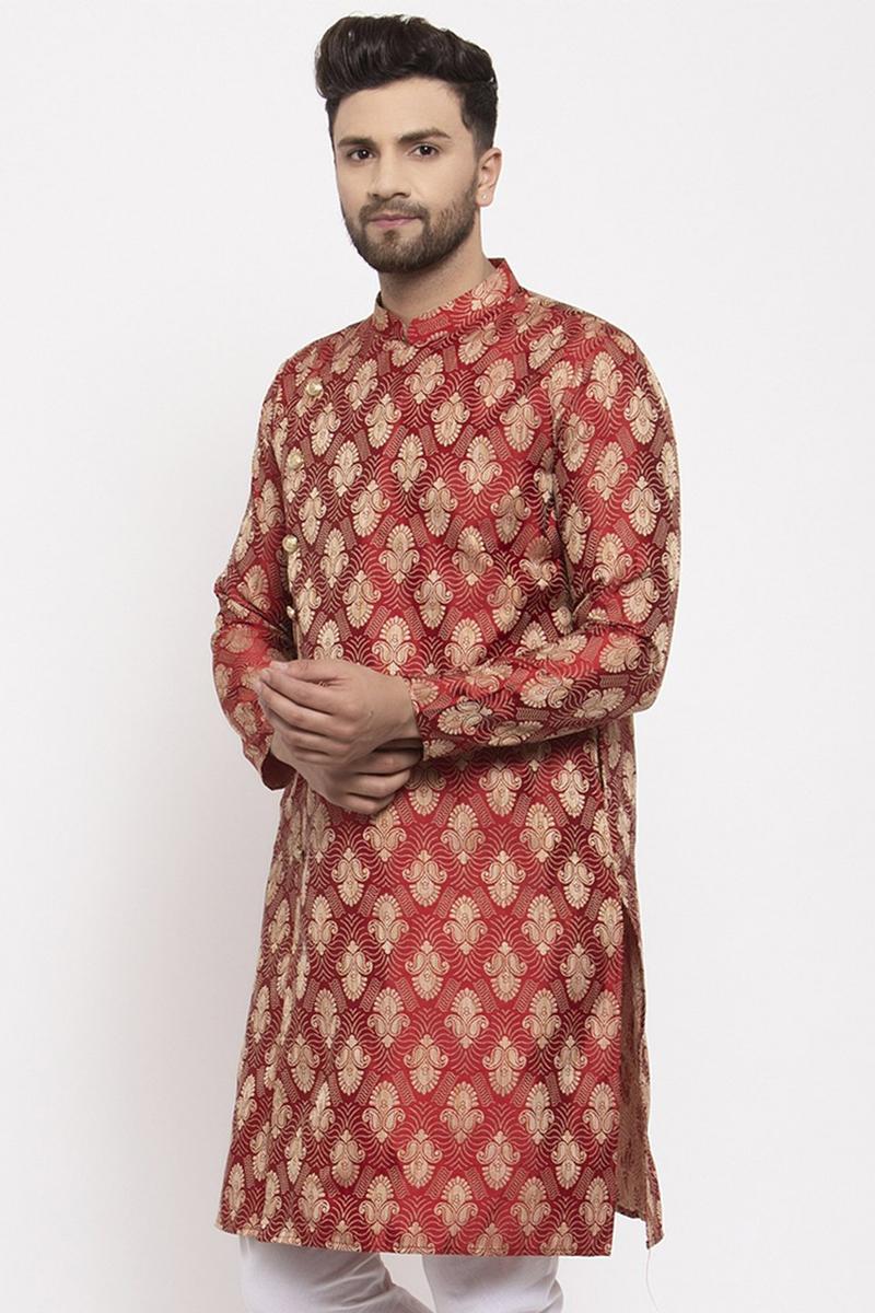 Maroon Color Jacquard Fabric Sangeet Wear Readymade Men Kurta