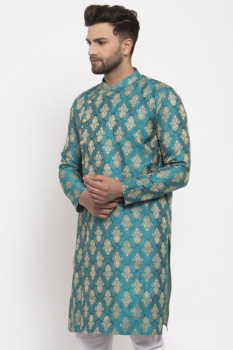 Cyan Color Jacquard Fabric Function Wear Readymade Kurta For Men