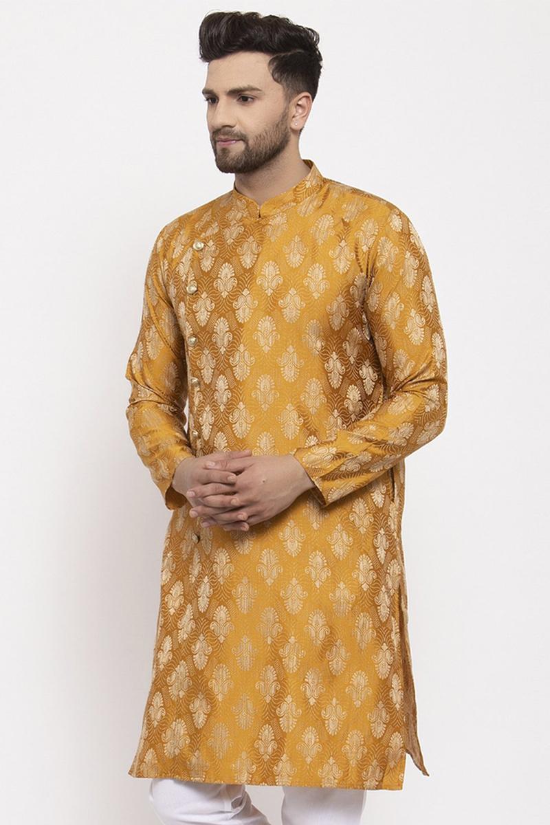 Golden Color Jacquard Fabric Festive Wear Readymade Men Kurta