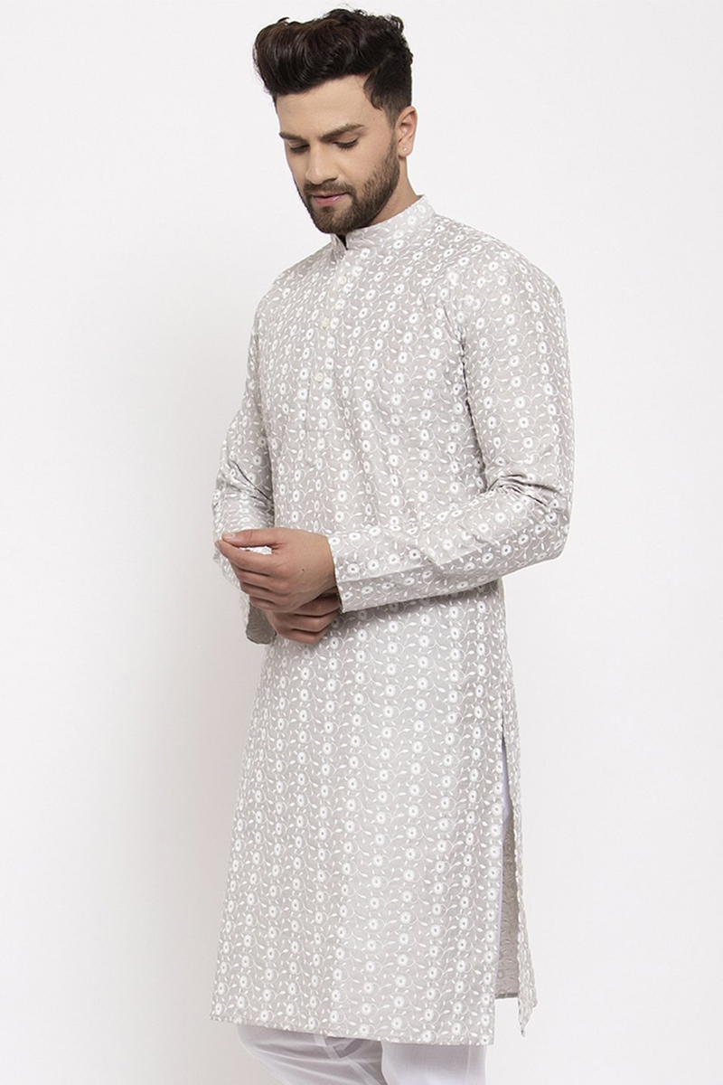 White Color Silk Fabric Sangeet Wear Embroidered Readymade Kurta For Men