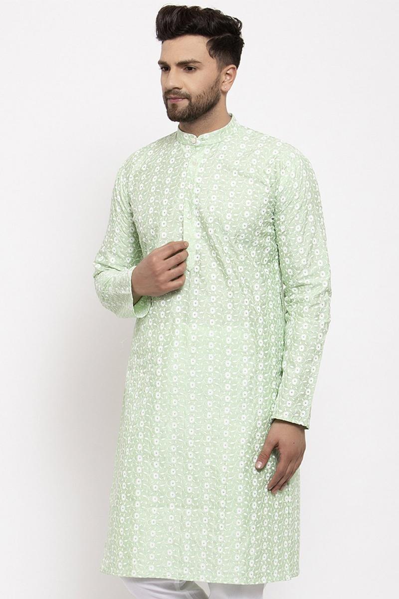 Sea Green Color Silk Fabric Function Wear Embroidered Readymade Men Kurta