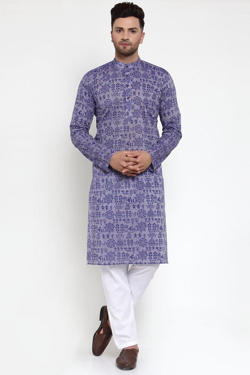Purple Color Cotton Fabric Function Wear Printed Readymade Kurta For Men