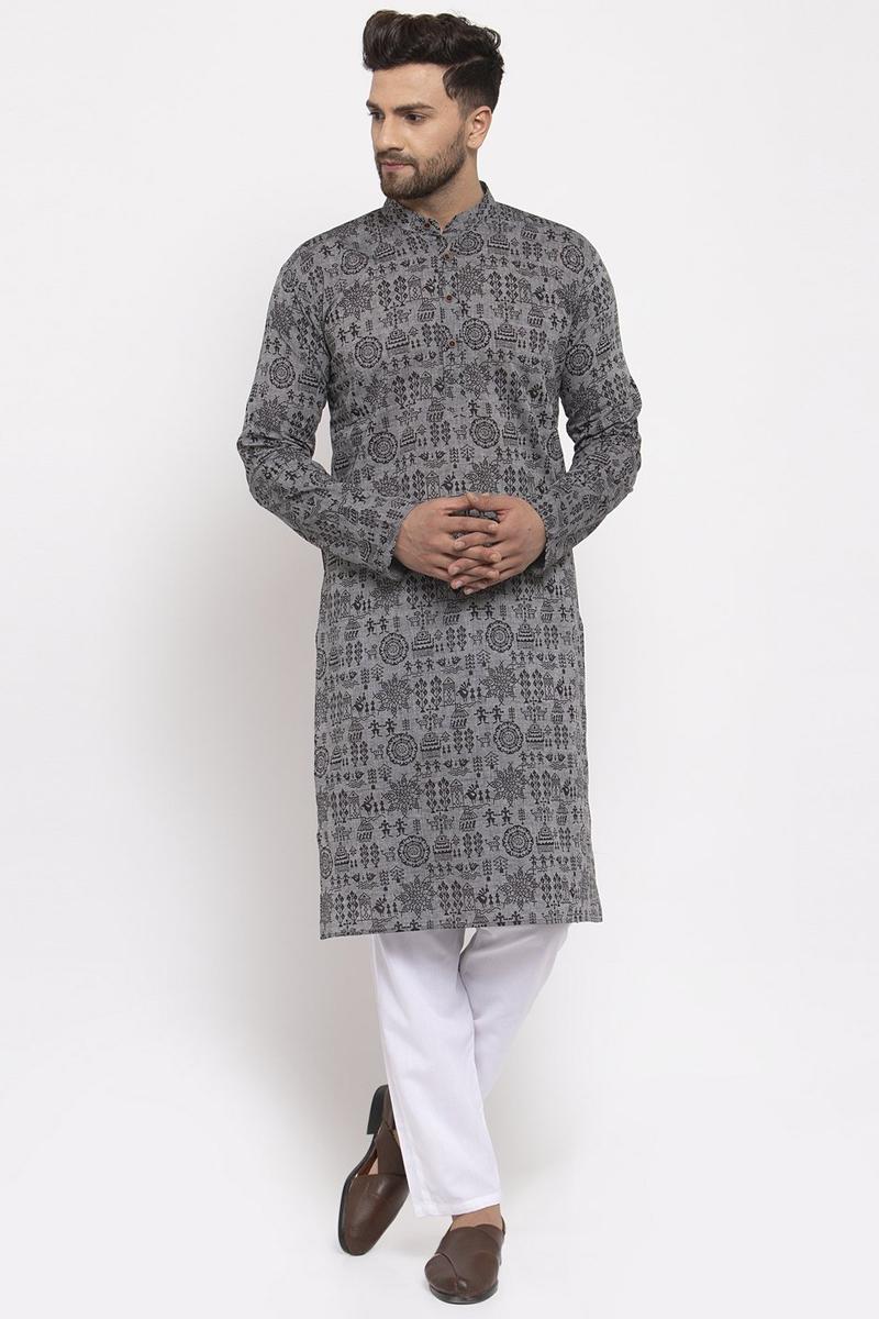 Grey Color Cotton Fabric Sangeet Wear Printed Readymade Kurta For Men