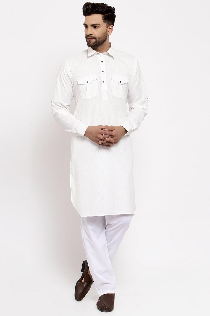 White Color Cotton Fabric Function Wear Readymade Kurta Pyjama For Men