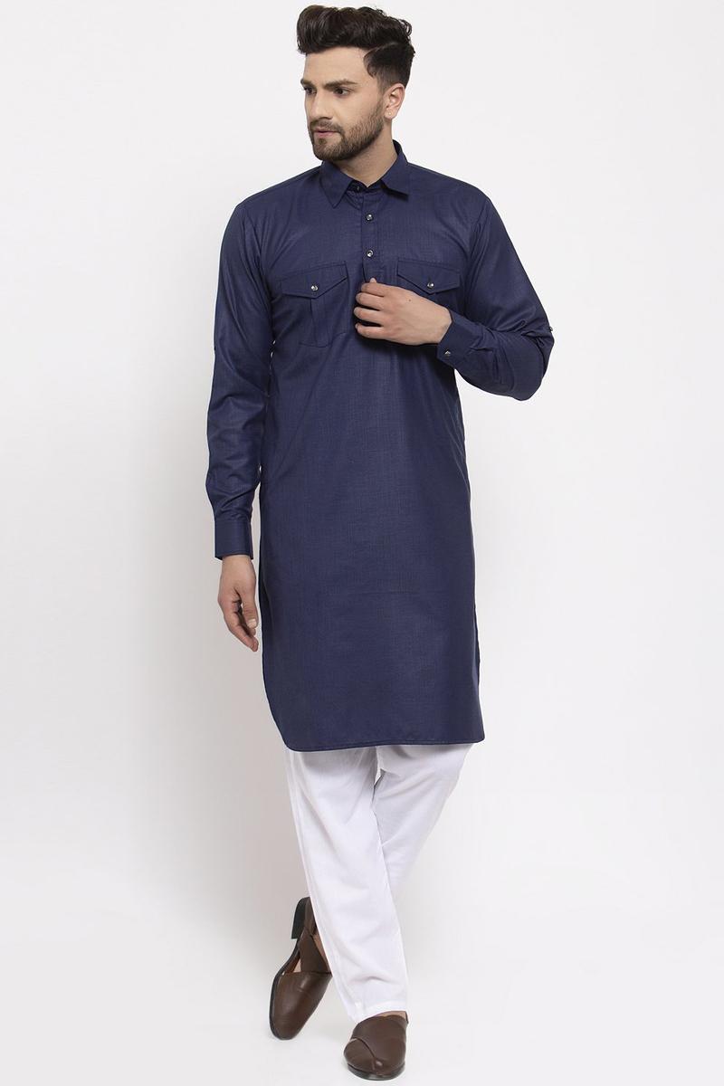 Navy Blue Color Cotton Fabric Festive Wear Readymade Kurta Pyjama For Men