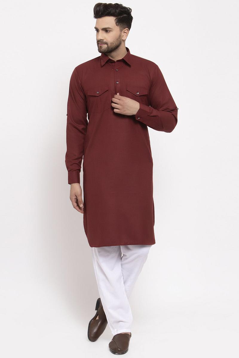 Maroon Color Cotton Fabric Sangeet Wear Readymade Kurta Pyjama For Men