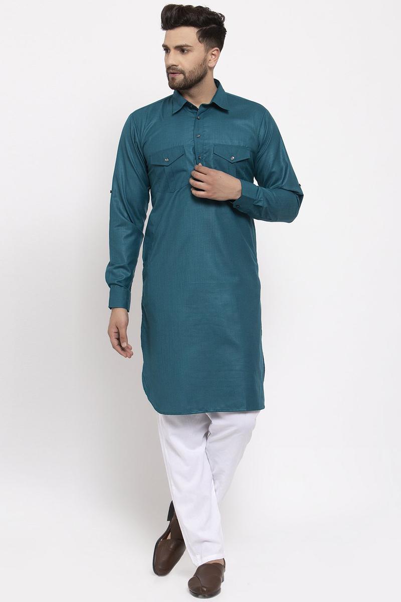 Teal Color Cotton Fabric Function Wear Readymade Kurta Pyjama For Men