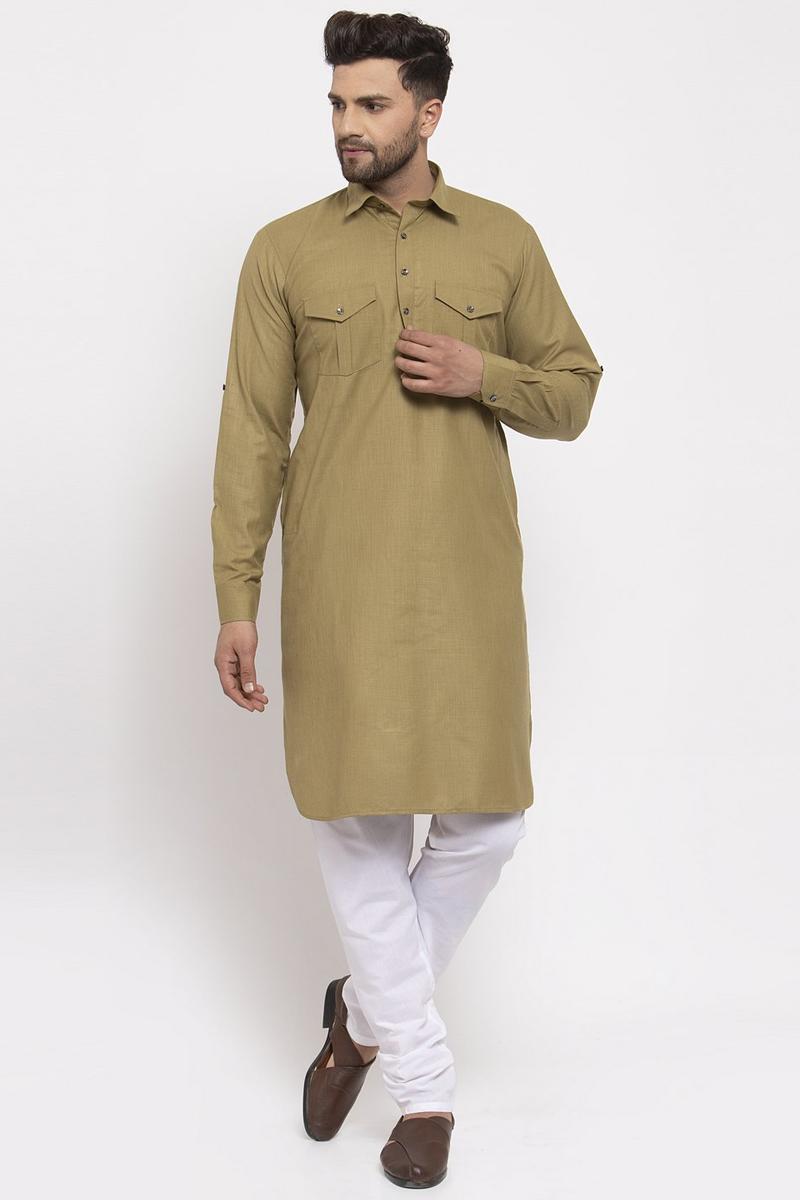 Dark Beige Color Cotton Fabric Festive Wear Readymade Kurta Pyjama For Men