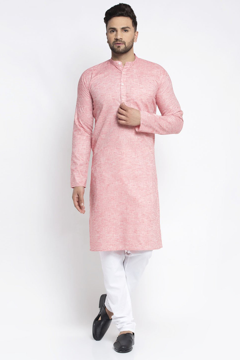 Pink Color Cotton Fabric Sangeet Wear Readymade Kurta Pyjama For Men