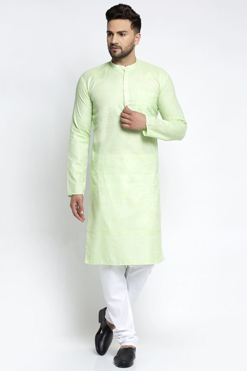 Sea Green Color Cotton Fabric Function Wear Readymade Kurta Pyjama For Men