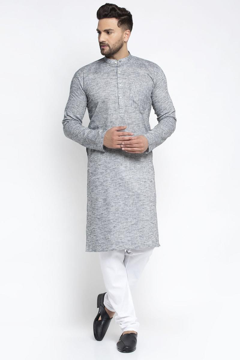 Grey Color Cotton Fabric Festive Wear Readymade Kurta Pyjama For Men