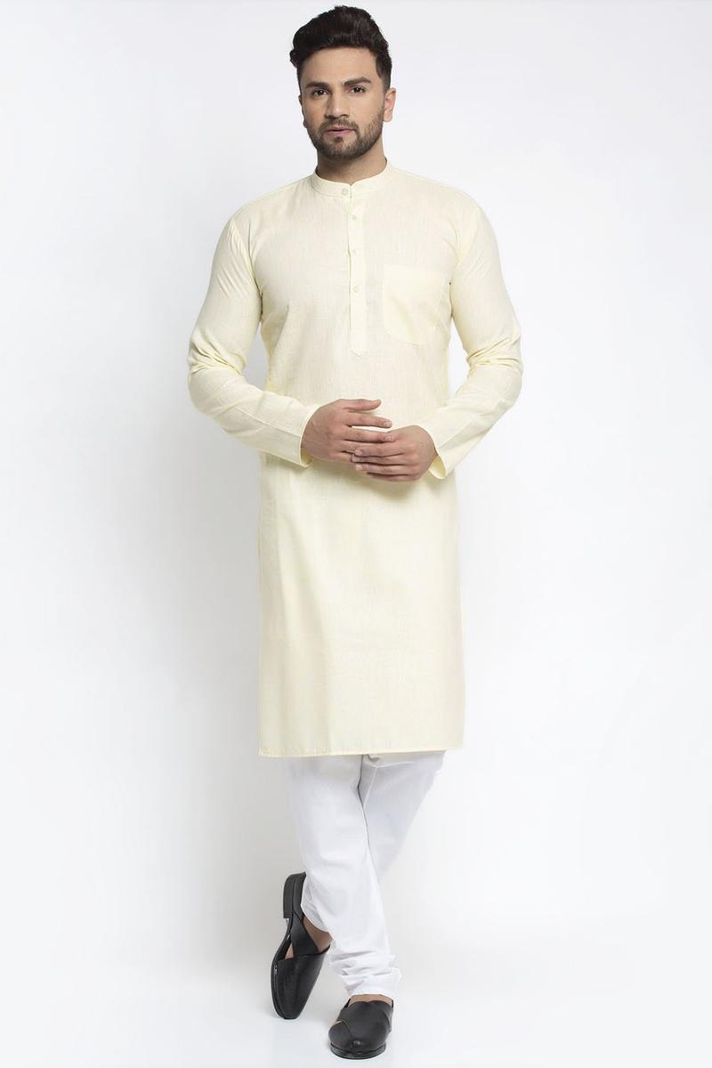 Off White Color Cotton Fabric Sangeet Wear Readymade Kurta Pyjama For Men