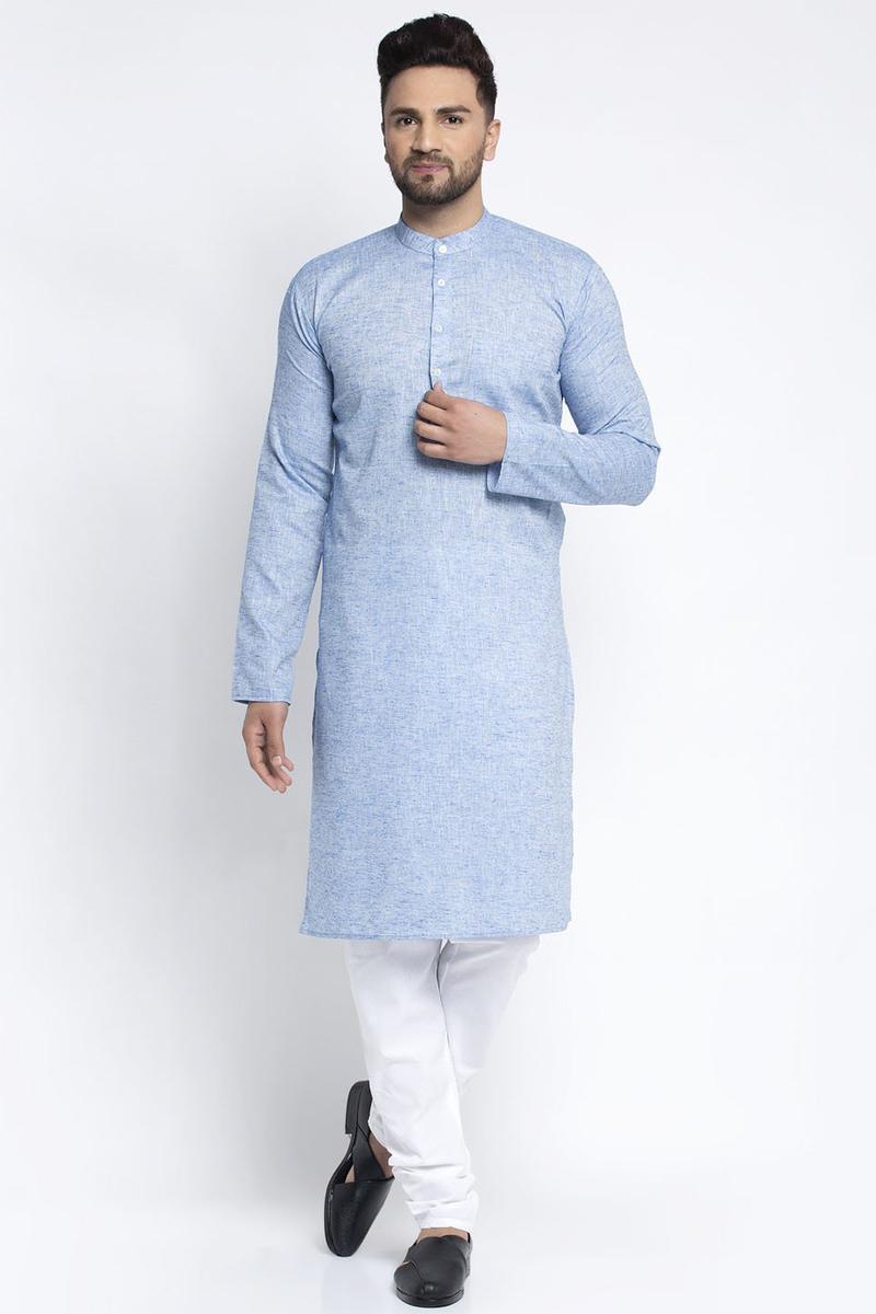 Blue Color Cotton Fabric Festive Wear Readymade Kurta Pyjama For Men