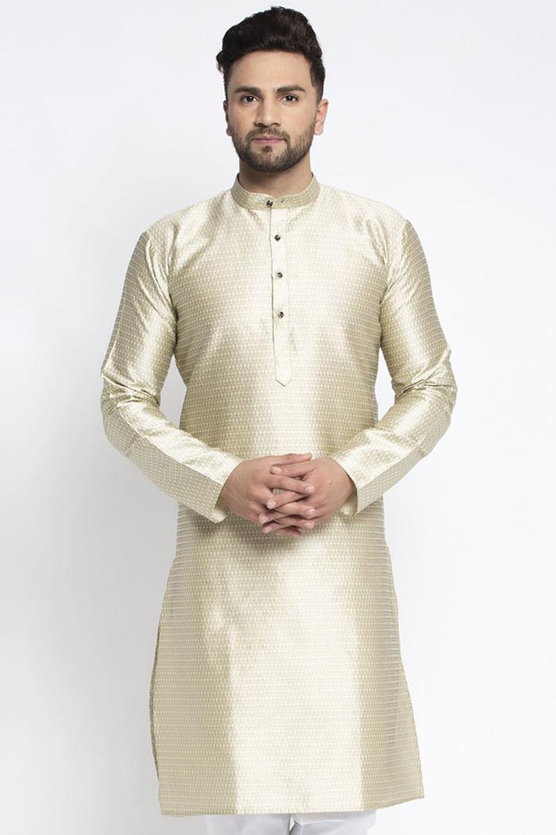Beige Color Silk Fabric Sangeet Wear Readymade Kurta For Men