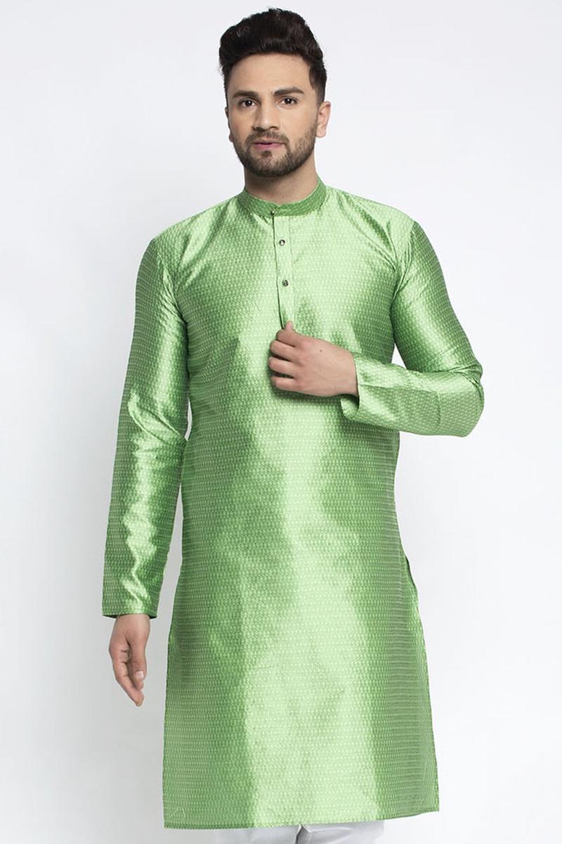 Sea Green Color Silk Fabric Festive Wear Readymade Kurta For Men