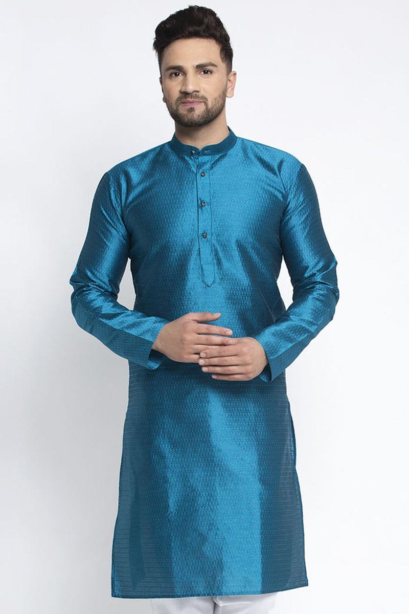 Sky Blue Color Silk Fabric Function Wear Readymade Kurta For Men