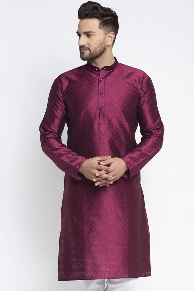 Wine Color Silk Fabric Festive Wear Readymade Kurta For Men