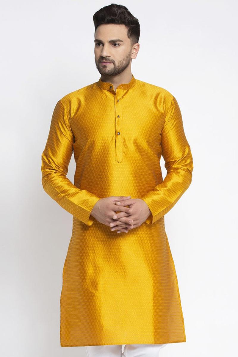 Mustard Color Silk Fabric Sangeet Wear Readymade Kurta For Men