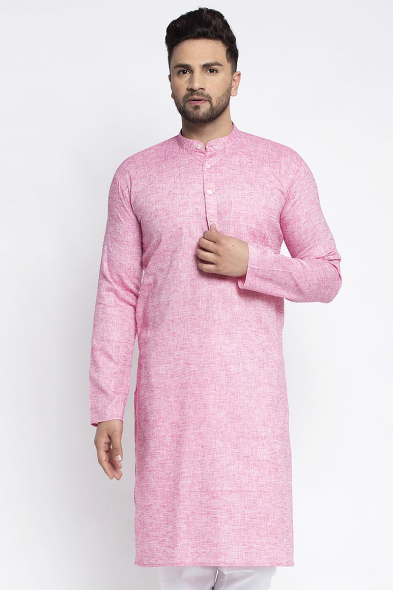 Pink Color Cotton Fabric Function Wear Readymade Kurta For Men